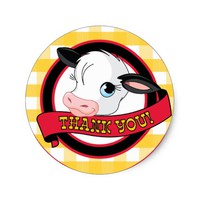 Cow - Thank You Sticker