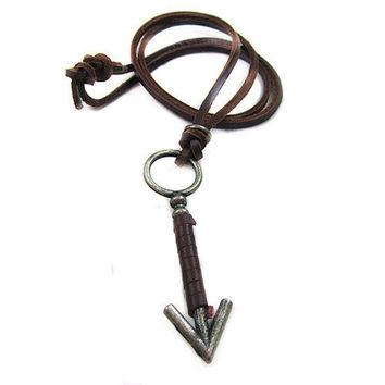 soft leather necklace, metal arrow pendant men leather long necklace, women leather necklace  PL0314