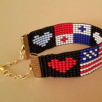 Loom Beaded Bracelet, US Flag, Forth of July, 4th of July, Panama, Heart, Women Bracelet, Men Bracelet, Designer Jewelry, Beaded Jewelry