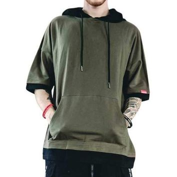 Mens Cotton Loose Elbow Sleeve Hooded T Shirt