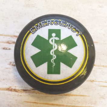 Handmade Emergency Knobs, Apocalypse Dresser Knob Pulls, Zombie Apocalypse Medical Symbol Cabinet knob, Gift For EMT, Made To Order