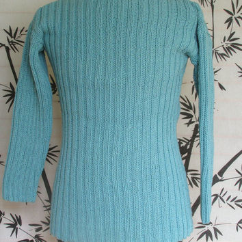 Sweater Pullover Po'Boy Style Seaspray Aqua in Ribbed Knit