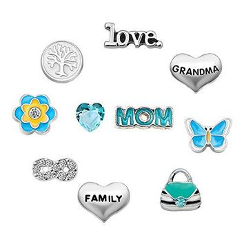 CharmsStory Mom Butterfly 10 Pcs Floating Charms For Glass Living Memory Lockets Necklace amp Bracelets