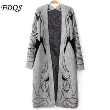 2016 New Autumn Winter Ladies Blend Knitted Cardigans Girl Printed Elegant Jumper Sweater Thicken Long Knitwear Coat