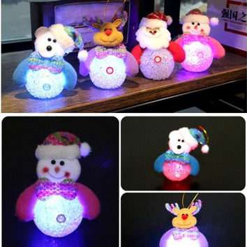 Lovely Christmas Luminous pendant Santa Claus/Snowman/Bear/elk articulos de navidad christmas decoration arvore de natal [8270364097]
