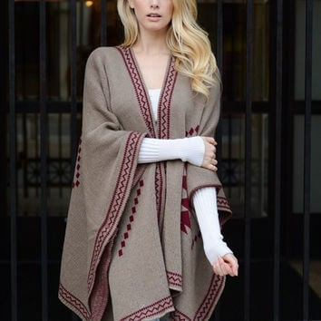 Tribal Knit Poncho - Mocha/Red