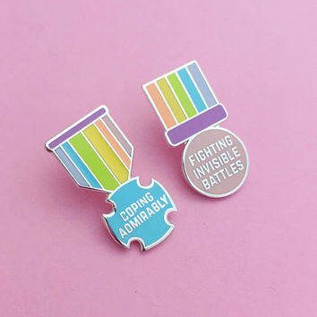 Fighting Invisible Battles Medal Enamel Pin Badge - Adult Achievement - Positivity Pin - Rainbow Badge
