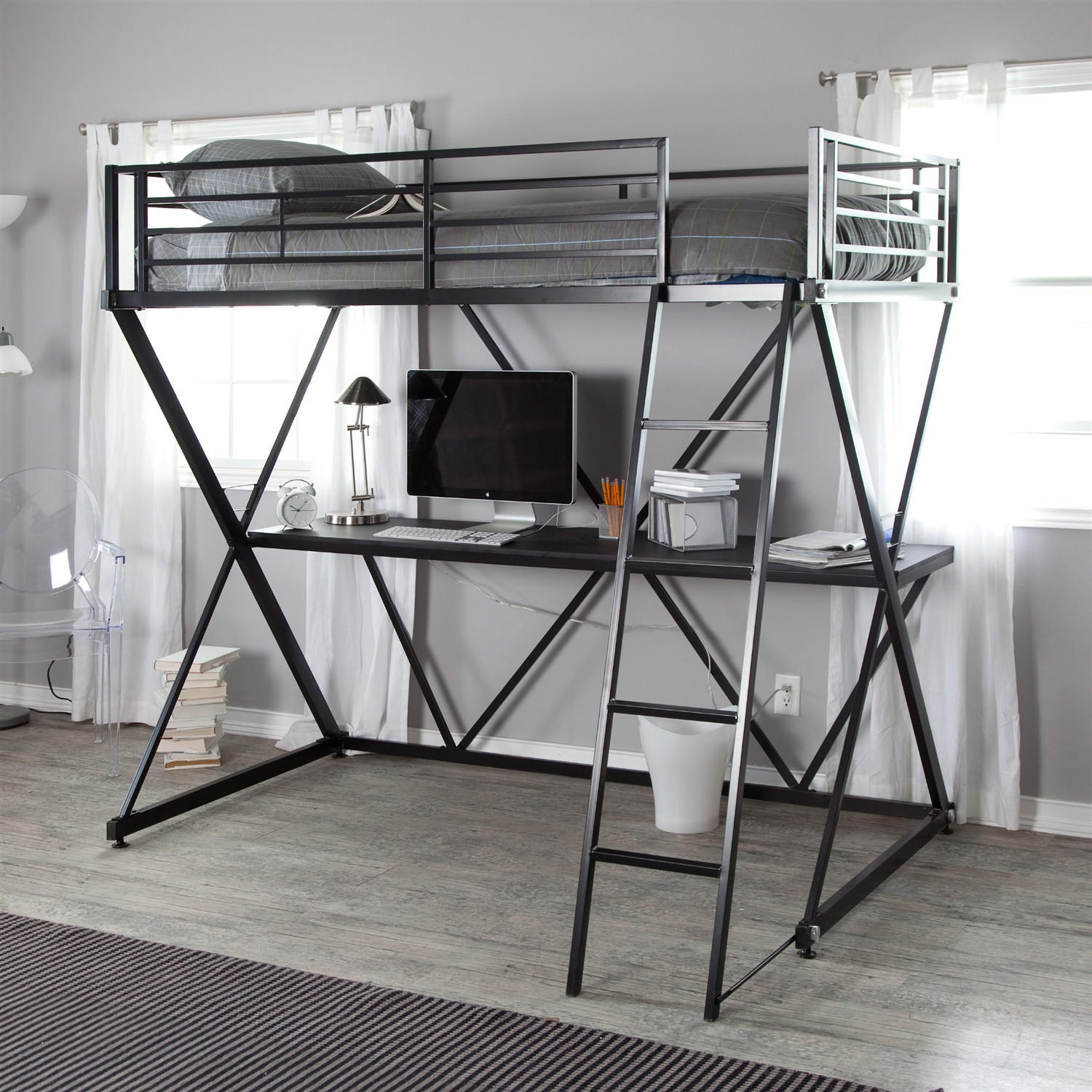 black metal twin size bunk bed loft with from hearts attic