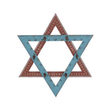 Star Shaped Wooden Ruler Styled  Metal Hook Wall Panel