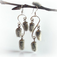 Pussy willow earrings, chandelier sterling silver earrings with real catkins, nature's treasure
