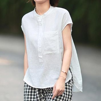 Ramie shirts with workwear pockets and stand-up collared sleeveless blouses for women with loose-fitting cotton and linen dresses are selling well