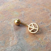 Stainless steel gold peace symbol Daith, Rook, Eyebrow ring