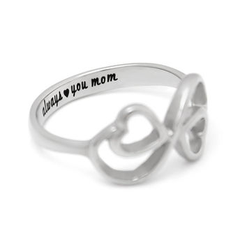 "Double Hearts Infinity Ring, Mothers Ring, Promise Ring ""Always Love You My Mom"" Engraved on Inside Best Gift for Mother"