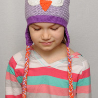 Crochet owl hat - Owl hat - Owl Beanie - Boy Girl hat - Hat with braids - Baby Teen hat - Animals hats