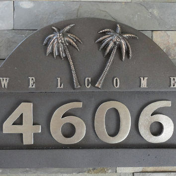 Tropical Palms ADDRESS PLAQUE Beach House Numbers Oil Rubbed Bronze Large