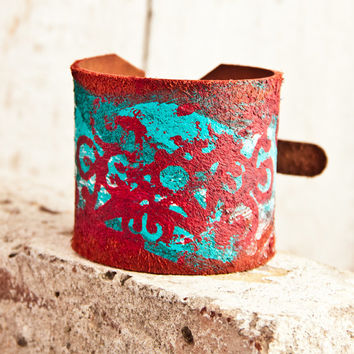 Bracelets Cuffs Turquoise Jewelry Leather Buckle Bracelets OOAK Wristbands For Women