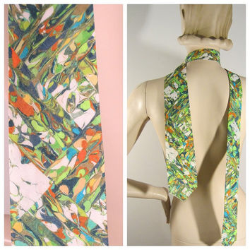 60s/70s Marbled Tie Psychedelia Fab Pop Print Mens Necktie Guy Wedding Formal Accessories - FREE SHIPPING