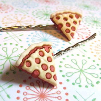 Pepperoni Please - Miniature Plastic Pizza Slice - Bobby Pin Hair Clips - Food Hair Accessory - OneUglyUnicorn