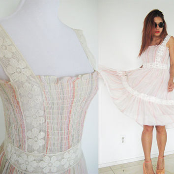 Vintage 70's gauze lace crochet smock rainbow hippie bohemian boho soft light weight maxi