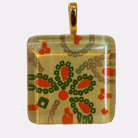 New one of a kind glass tile Japanese chiyogami print square 1 inch w yellow green orange gold dots flowers necklace with chain Go Green