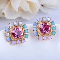 Colorful Rhinestone Princess Earrings - LilyFair Jewelry