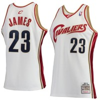 Men's Cleveland Cavaliers LeBron James Mitchell & Ness White Hardwood Classics Rookie Authentic Jersey