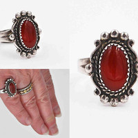 Vintage Sterling Silver & Red Carnelian Ring, Bell Trading Post, Native American, Southwestern, Size 6, Bead, Swirl, So Nice! #c432