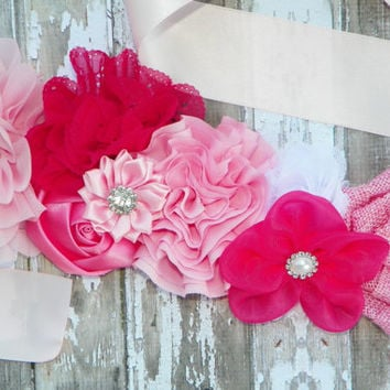 Pink Maternity Sash, Flower Sash, Maternity Sash, Gender Reveal, Deluxe Maternity Sash, Photo Prop, Belly Band, Bridal Sash, Baby Prop
