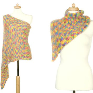 Rainbow Poncho Set - Pastel Multicolor Convertible Accessory For Mother And Daughter