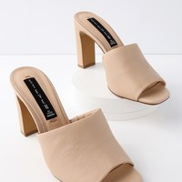 Jensen Nude Leather Peep-Toe Mules