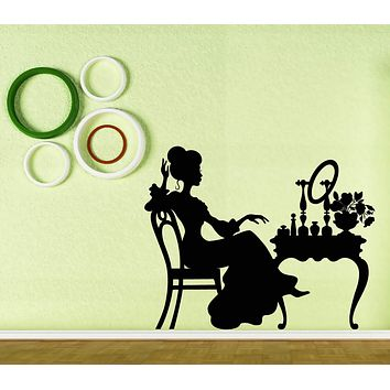 Wall Vinyl Decal Silhouette Woman Lady Boudoir Table Interior Decor Unique Gift z4691
