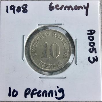 1908 German Empire 10 Pfennig Coin A0053
