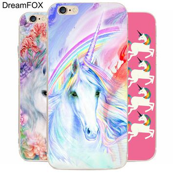 K253 Unicorn Transparent Hard Thin Case Cover For Apple iPhone 7 6 6S Plus 5 5S SE 5C 4 4S