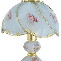 Park Madison Lighting PMA-1041-10 14-Inch Tall Touch Accent Lamp with Floral Decorated Captured Glass Shade, Polished Brass Finish