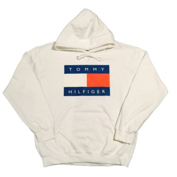 27b90d36 Vintage 90s Tommy Hilfiger Hoodie (White) from Rare Station