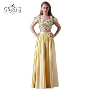 New Two Piece Long Prom Dresses 2017 Robe de Soiree 3D Floral Flower Off the Shoulder Floor Length Satin Evening Party Gown