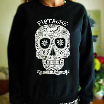 SUGAR SKULL SWEATSHIRT black unisex crewneck sweater jumper screen printed tattoo clothing fabric mexican native american aztec mens womens