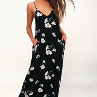 Yours Tule Black Daisy Print Maxi Dress