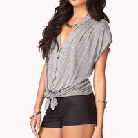 Front-Tie Heathered Top