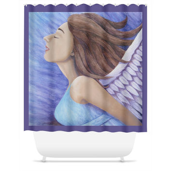 Air Goddess Flying - Shower Curtain of Angel Acrylic Paint and Watercolor Pencil Fine Art