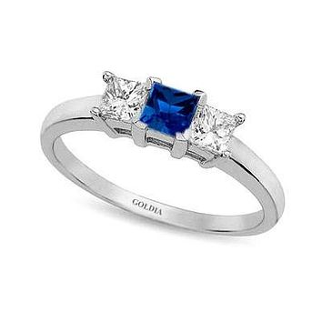 Three-Stone Princess Cut Blue Sapphire and Diamond Ring White Gold