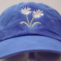 WHITE ASTER September Flower of Month Hat - Embroidered Women Garden Cap - 24 Colors Available - Price Apparel Embroidery