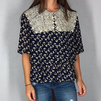 Lace Embolished Navy Blue Peasant Top, Boho Hippie Tunic with Nude Leaf Pattern and Lace, Cinched Waist Button Up Bohemian Shirt