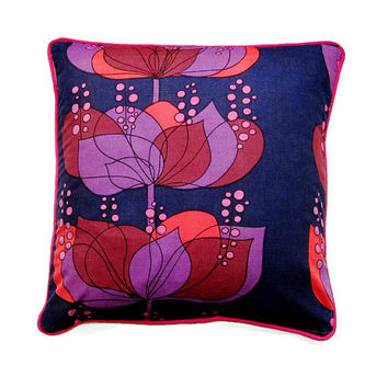 Boras 'Rio' by Helene Wadel vintage mid 60s purple, red, hot pink, Swedish cotton print, cushion, throw pillow, homeware decor, 18 x 18 ins.