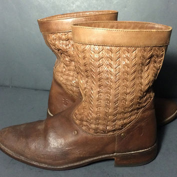 Frye Shirley 77906 Brown Leather Riding Western Cowgirl Motorcycle Boots Women's Size 10