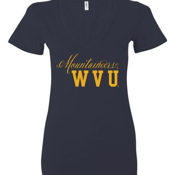 Official NCAA West Virginia University Mountaineers Hail WVU Cursive Back State Ladies Deep V-Neck - WV03