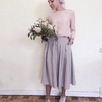 Linen buttoned midi pleated gray skirt with pockets