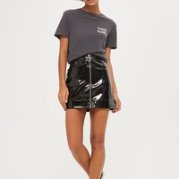 Zip Through Vinyl Mini Skirt | Topshop