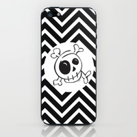 Skull on Black and White Chevron iPhone & iPod Skin by Even In Death