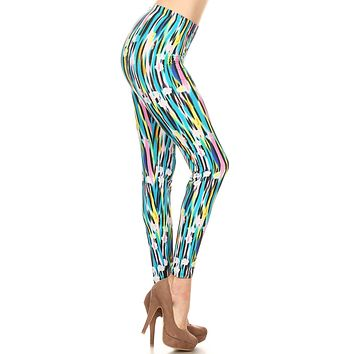 Women's Plus Abstract Paint Lines Pattern Printed Leggings - Blue Yellow